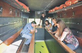 Marlo Johnson family own the glass bottom boat at Ft. Kearney Museum
